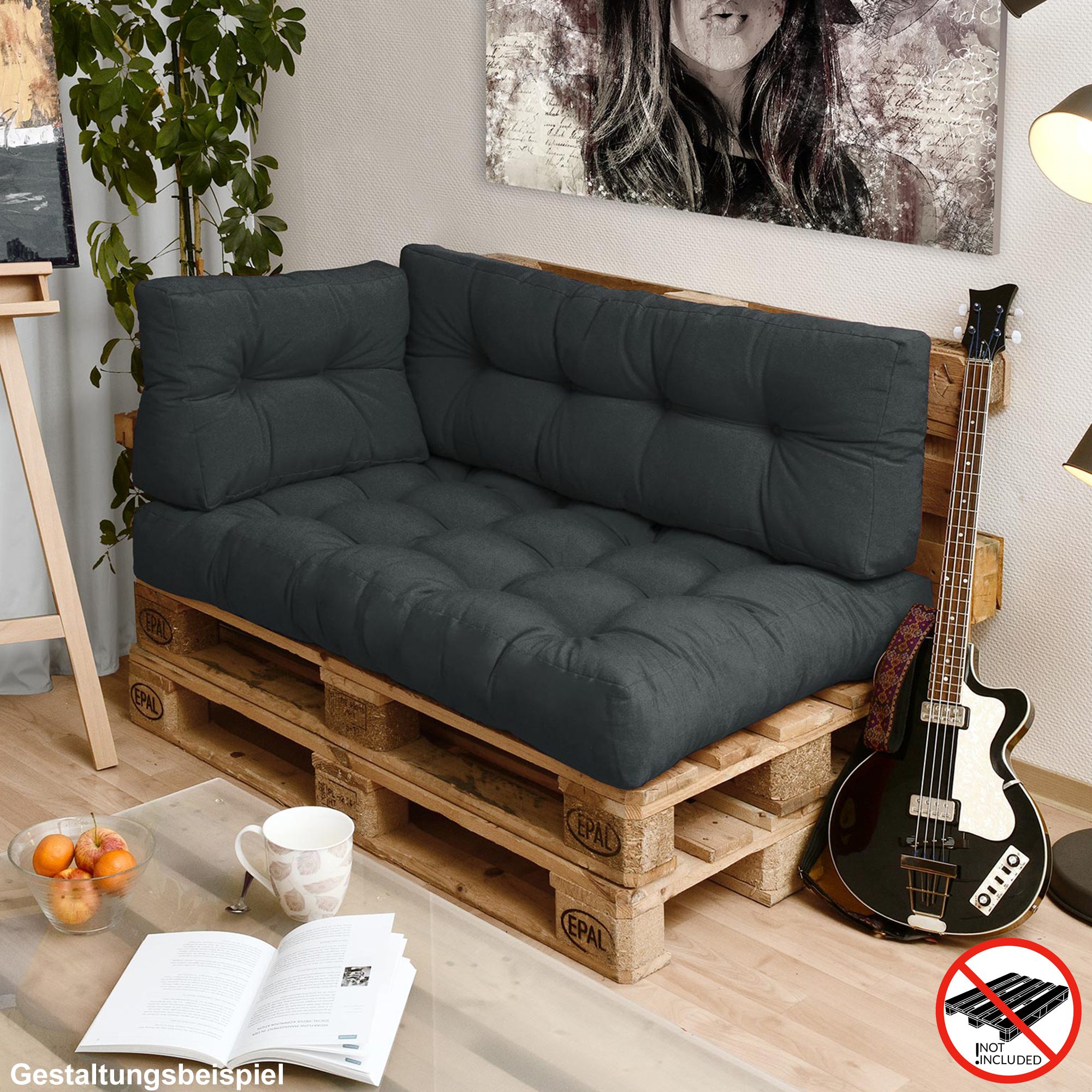 palettenkissen palettenpolster paletten palettenauflage polster kissen auflage ebay. Black Bedroom Furniture Sets. Home Design Ideas
