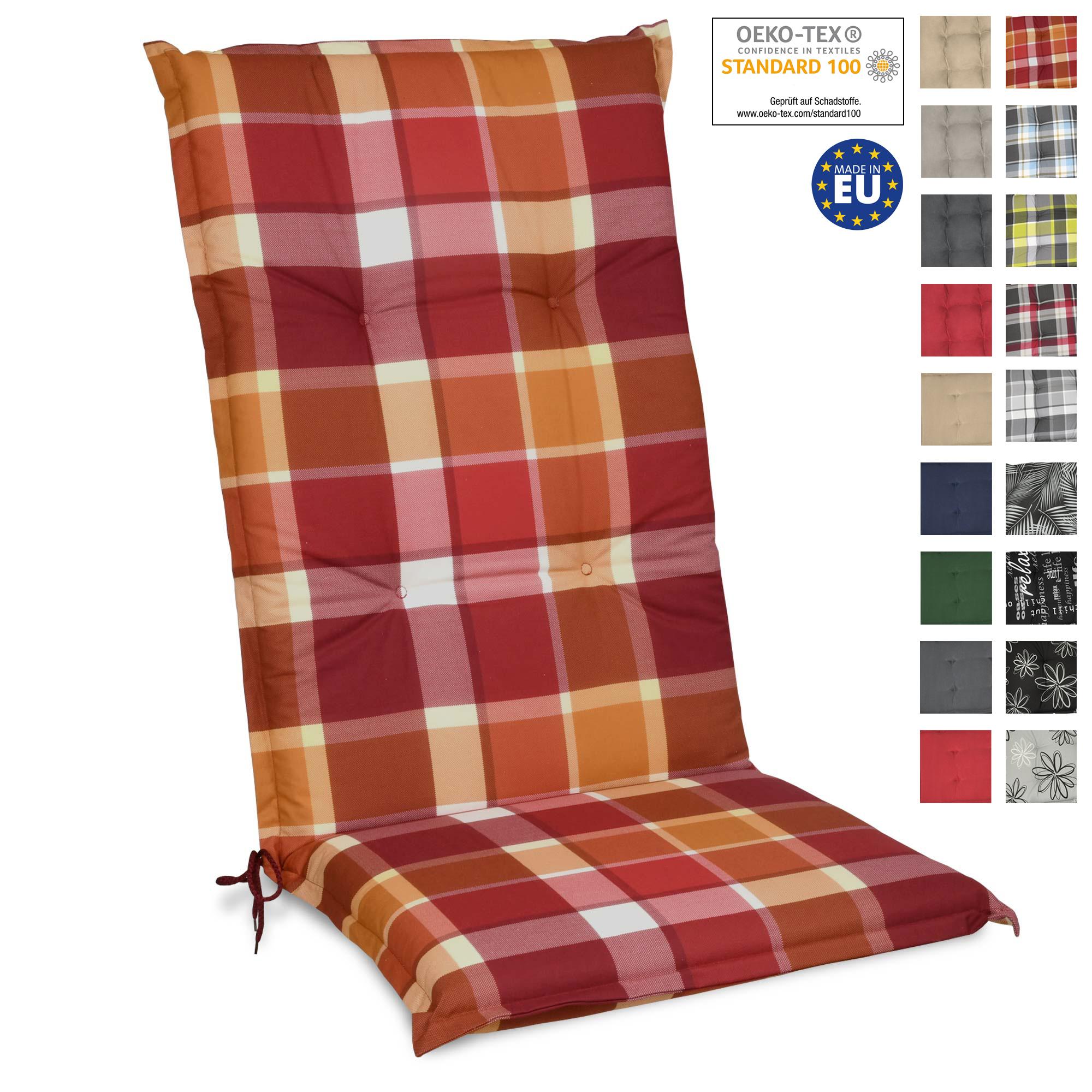 4 Auflagen fuer Hochlehner 12 Farben zur Wahl Gartenpolster Kissen Sessel Stuhl